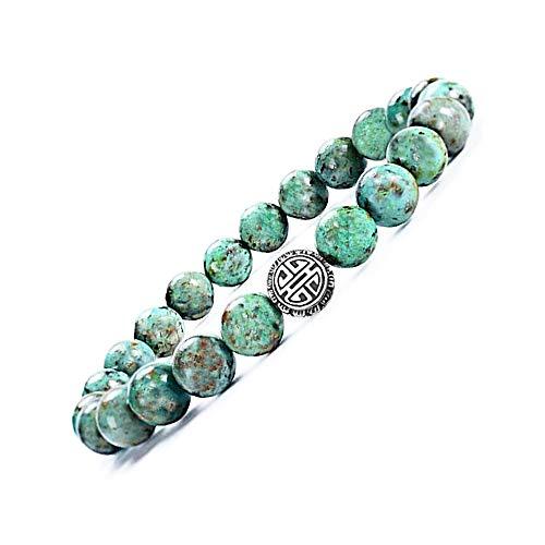 Natürliche 8 mm Edelsteine Crystal Stretch Perlen Armband, Perlenarmband mit 925 Sterling Silber Anhänger Mit Casisto.J Geschenkbox (Afrikanischer Türkis) - Armband Mit Türkis-perlen