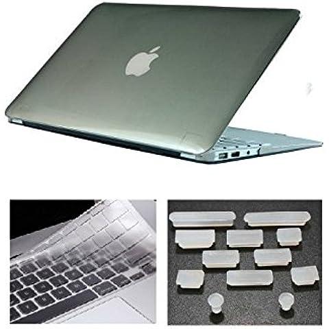 HYAIT 3in 1Ultra Sottile Cristallo Hard Case + tastiera copertura + Anti-Dust Plugs per Apple Macbook Air da 11.6A1370e A1465, colore: grigio - Ottone 3 Pollici Casa Numero