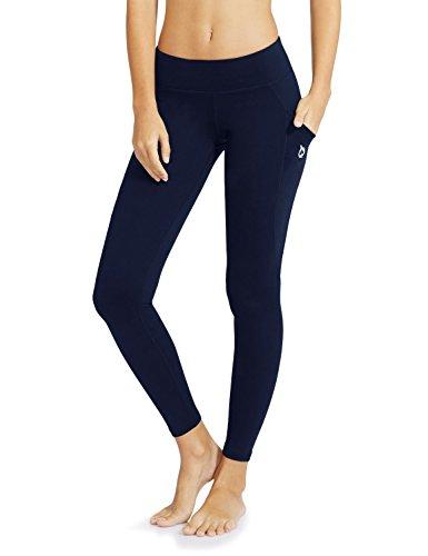 Baleaf Damen Hohe Taille Yoga Leggings Innentasche Nicht transparenten Stoff, Blau, Baleafabh0060818517wa