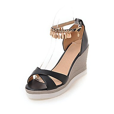 Enochx Donna Sandali Estate Autunno scarpe Club Comfort PU Ufficio Matrimoni & Carriera vestito Tacco a cuneo di strass catena della fibbia blushing pink