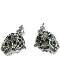 Titan Titanium Ohrstecker Ohrringe Silber Leopard schwarz weiß Damen Herren Paar