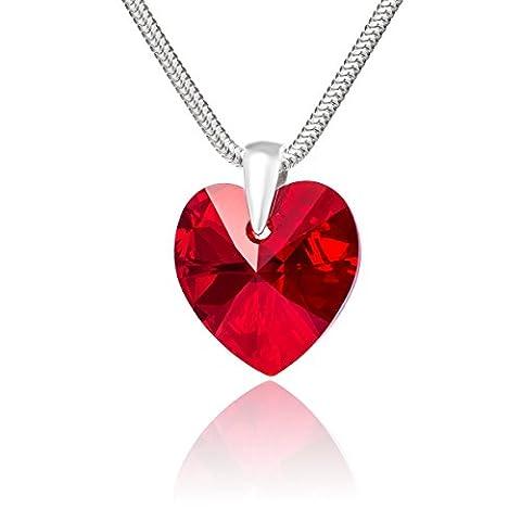 LillyMarie Damen Halskette Sterling-Silber 925 original Swarovski Elements Herz rot Schmuck Etui Geschenke an die beste