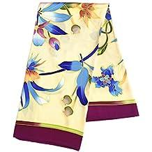 Silk Run –  Belles fleurs et bourgeons  Foulard carré imprimé 100% soie ( 108f79bb7b5