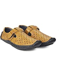 Deals4you Tan And Black Synthetic Leather Casual Floaters Sandals For Men
