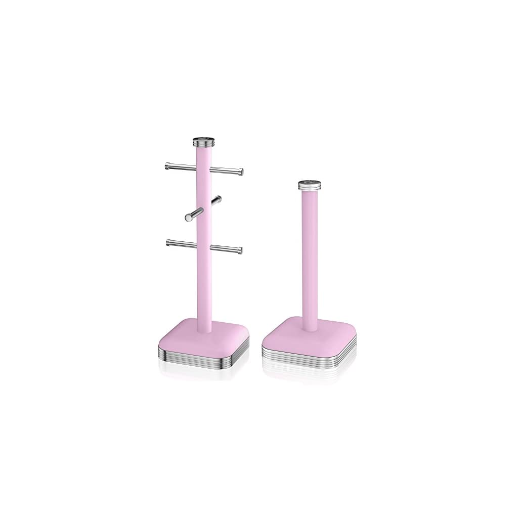Swan 6 Cup Mug Tree And Kitchen Roll Holder Towel Pole Set Pink