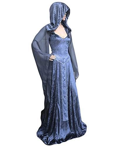 GladiolusA Vestito Medievale Donna Rinascimentale Abiti Cosplay retrò Costume di Halloween Blu 2XL
