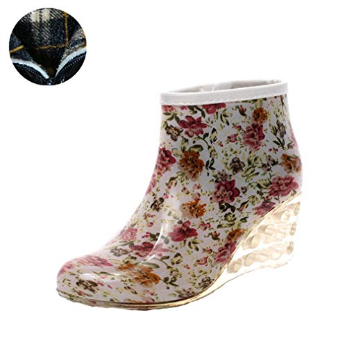 GOLDGOD Damen Regen Stiefel Flache Unterseite Keil Mit Warm Plus Samt Plus Baumwolle Regen Stiefel Kurze Röhre Erwachsene High Heel Wasser Schuhe,d,40