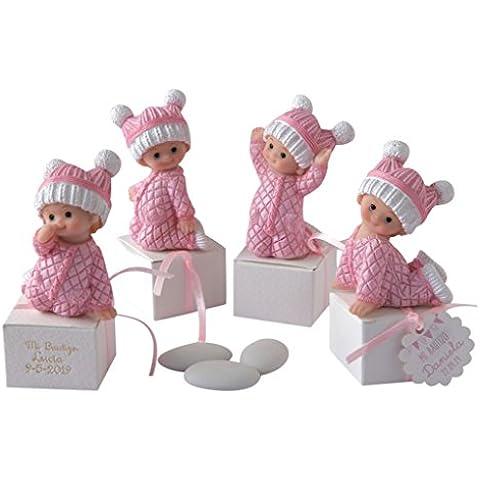 Mopec ZP2810.2 - Figuritas de bebé niña vestidas para dormir con 3 peladillas, pack de 12