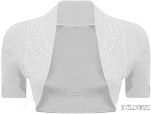 nouvelles dames perles manches courtes haussement paillettes détail boléro culture cardigan top white