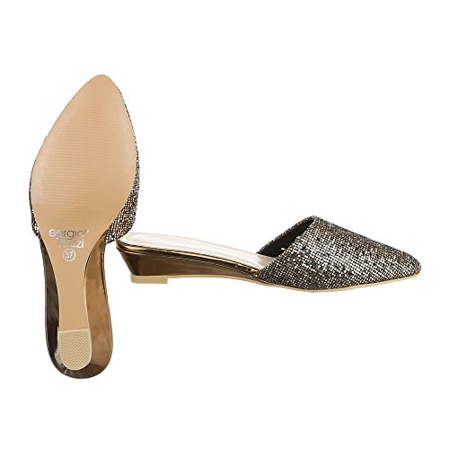 Pantoletten Damenschuhe Jazz & Modern Keilabsatz/ Wedge Moderne Ital-Design Sandalen / Sandaletten Bronze