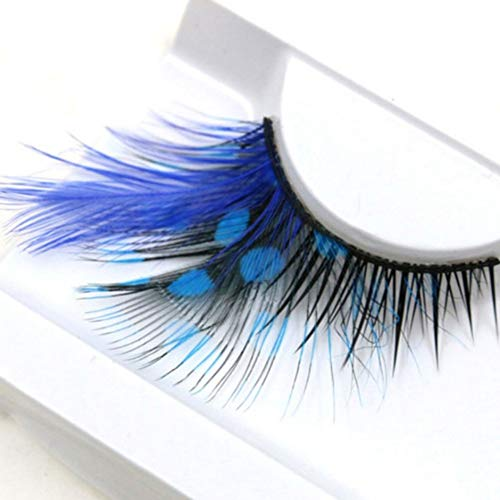 Deluxe Pfau Kostüm - BOBORA Extrem lange falsche Wimpern Sexy Blue Point Peacock Prints Volumen Federwimpern Extra Erweiterung False Eye Make-up für Deluxe Party Stage Dance Kostüm