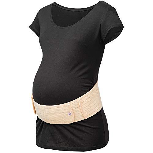 Herzmutter Bauchgurt-Schwangerschafts-Stützgürtel-Bauchband - größenverstellbarer Schwangerschaftsgurt - Bauchgurt Schwangerschaft - Gymnastik-Yoga-Sport - 3200 (S/M, Beige)