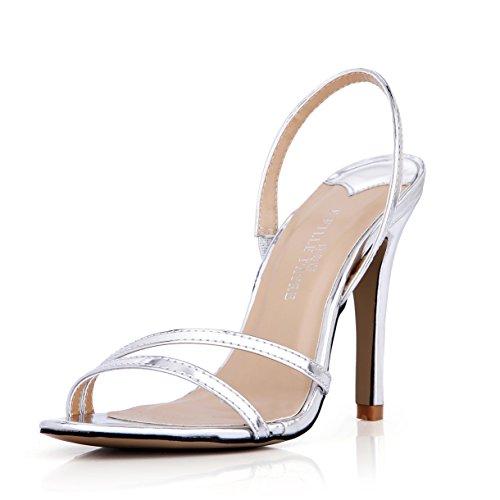 Green Glitter Heel High Schuhe (Neue Weibliche Sandalen Jährliche Desktop anzeigen Modell Frauen Schuhe große silberne Band high-heel Schuhe,)
