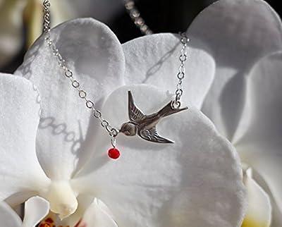 Collier oiseau hirondelle en argent massif 925, cristaux de verre rouge, bijou élégant et romantique