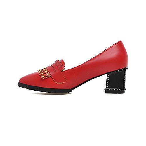 AllhqFashion Damen Spitz Zehe Ziehen Auf Pu Eingelegt Mittler Absatz Pumps Schuhe Rot