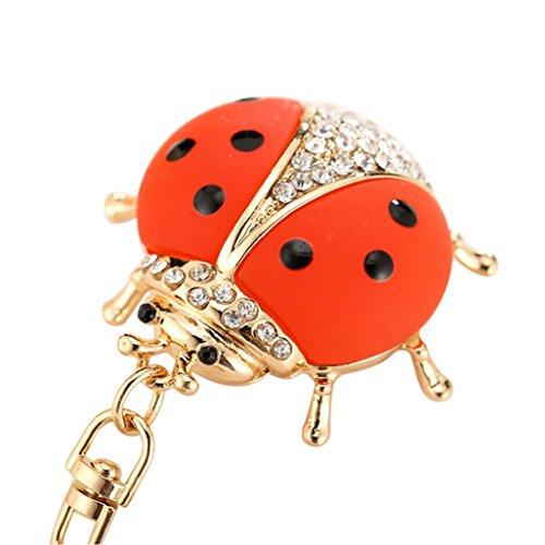 Hevoiok Kreativ Hase Beliebt Tier-Serie Nette Marienkäfer-Modellierung Legierung Diamant Schlüsselanhänger Keychain Tasche Riemen Handtaschen Anhänger Mädchen Tasche Ornamente Dekor (Rot)