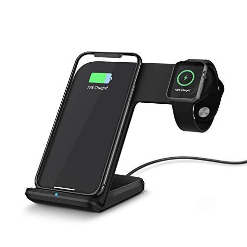 QC3.0 Wireless-Schnellladestation - Ladestation, kompatibel mit der Apple Watch-Serie 4/3/2/1, dem iPhone XS/XR/XS/X / 8 / Plus / 8 und dem Samsung Galaxy S9 / S8,Black - 0 X 8 Serie