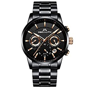 Mens Watches Men Waterproof Military Sport Chronograph Black Stainless Steel Wrist Watch Luxury Business Luminous Date Analogue Watches for Men