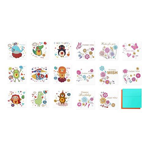 TOYANDONA Papiergruß mit Umschlägen, Cartoon, animierte Schreibwaren für Geburtstag, Geschäftswünsche, 20 Papierkarten, 20 Umschläge, zufällige Muster