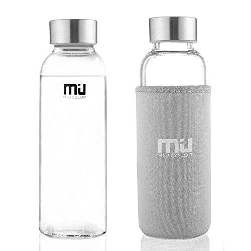 MIU COLOR Stilvolle Tragbare 360ml Glasflasche Trinkflasche mit Nylon Tasche (grau)