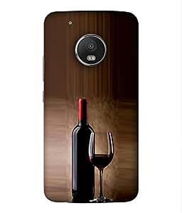 FUSON Designer Back Case Cover for Motorola Moto G5 Plus::Moto G5 Plus:: Moto G5+:: Motorola Moto G5plus XT1684 XT1685 XT1687 (Party Enjoy Crazy Wine Bottle Glass With Wine)