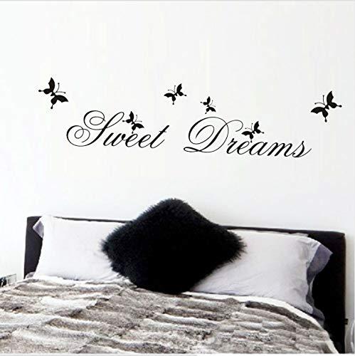 (HLLCY Süße Träume Schmetterling DIY Wandaufkleber Schlafzimmer Wohnzimmer Dekoration DIY Home Decals Zitate Wandkunst Druck PVC Poster)