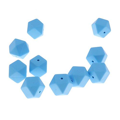 Sharplace DIY Baby Teether Spielzeug Krankenpflege Silikon Perlen Zwischenperlen Spacer Beads Sechskant Perlen für Armband Halskette Baby Schmuck DIY - Blau