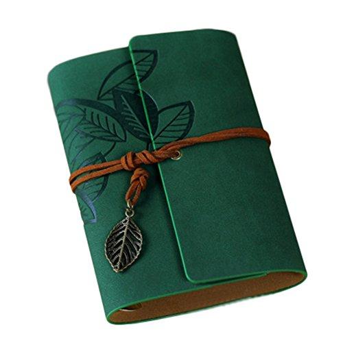 Uni liniert CAHIER Pocket ruikey Schutzhülle aus weichem bis Retro Creative, seitlich gebunden Pocket Hardcover, liniert, Note Notebook mit säurefreiem Papier für alle Stifte mit Kein Beschnitt Best Geschenk 100gsm 60Seiten 125* 95mm 12.5*9.5cm dunkelgrün (Papier Säurefreiem Notebook)