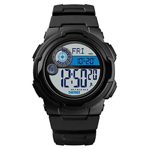CETLFM Militär Sportuhr, Kompass Schrittzähler Kalorien Herrenuhr Digitale wasserdichte elektronische Uhr Herrenuhr,Schwarz