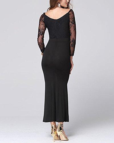 Abito Lungo Signore Vestito da Sera Sexy in Pizzo per il Partito Prom Dress Nero