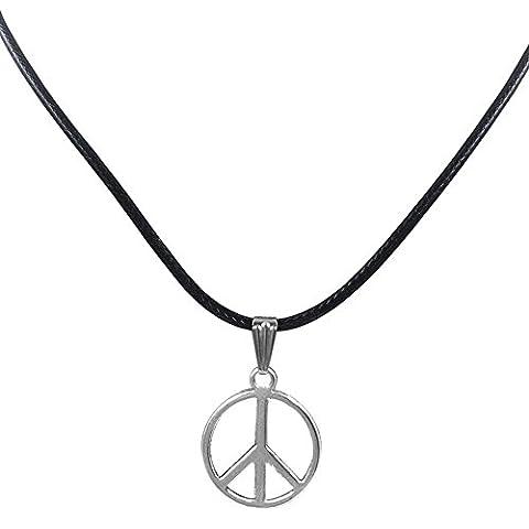 MESE London Silver Peace Sign Necklace Black Cord Pendant - Elegant Gift Box