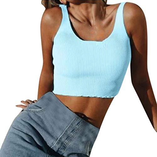 Damen Tanktop Piebo Frauen T-Shirt Ärmellose Bluse Camisole Tank Tops V-Ausschnitt Shirt Outdoor Sport Fitness Running Training Sommer Casual Weste Mode ()