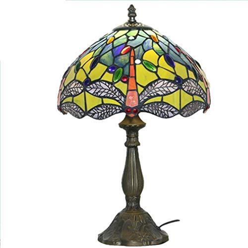 Seeksung lampada da tavolo - stile tiffany glass paralume, creativo camera europea lampada da comodino, lampada di lettura di studio, protezione degli occhi desk lamp, e27, 6-11w