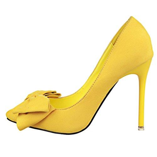 HooH Femmes Boucle Cheville Diamonds D'Orsay Stiletto Escarpins 305-2 Jaune