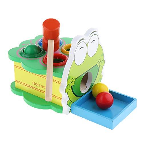 Homyl Baby Kleinkind Montessori Spielzeug - Karikatur Hammerspiel mit 4 Kugeln aus Holz - Frosch