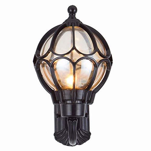 Preisvergleich Produktbild Xiao Yun Außenwandlaterne Aluminiumlegierung Vintage Globe Ball Lampenschirm Außenwandleuchte Dekorativer Gartenterrasse Eingang Indoor Outdoor (Farbe: Schwarz-Höhe 41 cm)