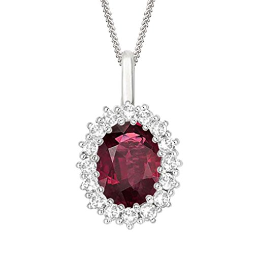 "Silvernshine 2.30 Ct Oval Ruby & D/VVS1 Diamond Halo Pendant With 18"" ChaIn In 14K White Gold Fn"