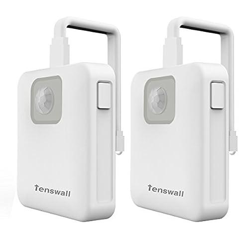 Tenswall Moderno LED Luz Noche de Inodoro - Sensor de Movimiente - Sensor de Cuerpo Noche Luz Automático - Adecuado Cualquier Inodoro - Operado por Batería - 7 LED Colores, 2-Pack