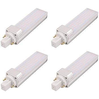 Pack de 4 bombillas fluorescentes compactas LED G24 de aluminio giratorio, 2 pines LED CFL