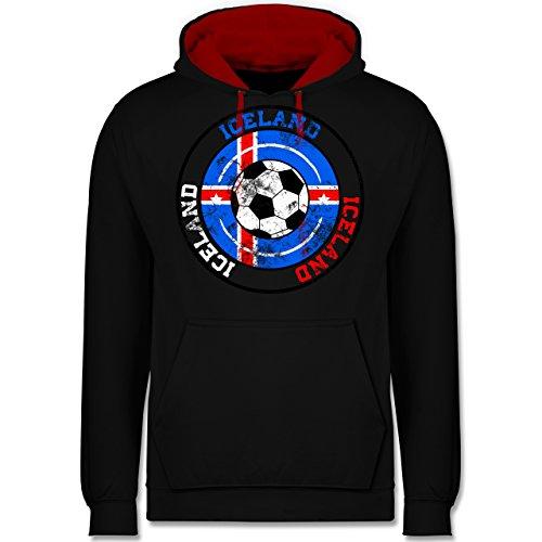 Fußball-WM 2018 - Russland - Iceland Kreis & Fußball Vintage - Kontrast Hoodie Schwarz/Rot