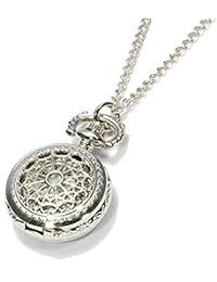 Reloj de Bolsillo Redondo Cuarzo Plata Collar Número Arábigo Hueco Retro Moda