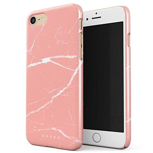 iPhone 7 / iPhone 8 Hülle Pfirsich Marmor Pink Rosa Licht Farbig Bunt Marble Dünn, Robuste Rückschale aus Kunststoff Für iPhone 7 / 8 Handyhülle Schutz Case Cover (Coral Farbige Taste)
