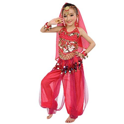 s Kleid Bauchtanz Chiffon Pailletten Tanzkleidung Karneval Kostüme Komplet Tanz Tuch Chiffon Tops Hosen Tanzkleidung für Kinder Schleier Hüfttuch Hose (M, Pink) (Cinderella-kostüm Für Kleinkinder)