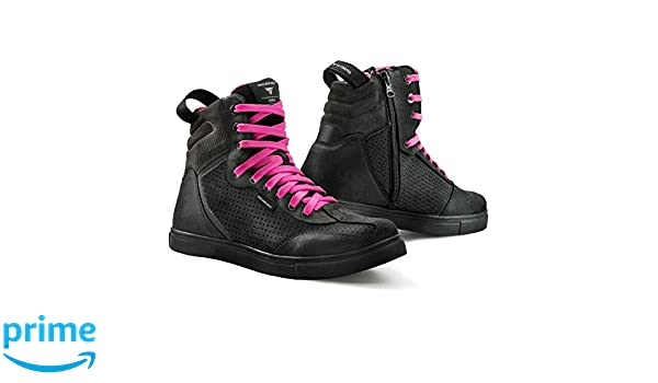 SHIMA Rebel Lady Chaussures de Moto Urban Femme Bottes de Moto Ville Sneakers Fluo Noir