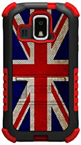 Beyond Cell Tri-Shield Durable Hybrid Hard Shell and Silicone Gel Case for Kyocera Hydro XTRM C6721 - British Flag - Retail Packaging - Black/Red