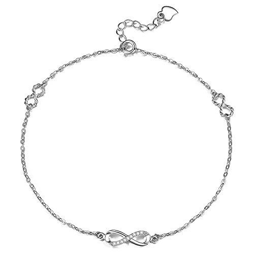 en 925 Sterlingsilber Funkeln Zirkonia Infinity Fußbändchen Mode Kollektion Unendlichkeit für immer Fußkette für Damen (Einzigartige Outfit-ideen)