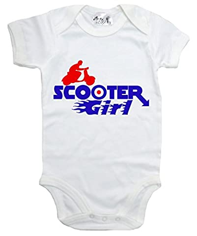 Dirty Fingers, Scooter Girl, Baby Bodysuit, 0-3m, White