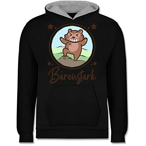 Shirtracer Tiermotive Kind - Bärenstark Comicbär - 9-11 Jahre (140) - Schwarz/Grau meliert - JH003K - Kinder Kontrast ()