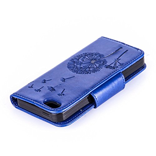 Custodia periPhone 7 2016, custodia a portafoglio iPhone 7, Toyym 3D di lusso brillante con glitter strass a motivo con farfalla e fiore design a libro in similpelle funzione protettiva cover con por Blue Dandelion