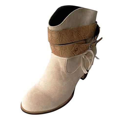 POLP Botas,Botines de Tacón Alto de 7 cm Botas Mujer Invierno Zapatos con Hebilla Botines Mujer Tacon...